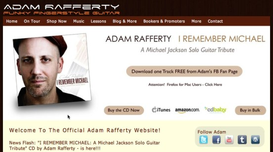 Adam Rafferty's website, homepage above-the-fold